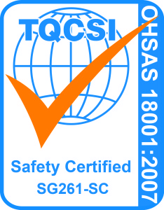 ohsas 18001 Cert Mark - SMS (Blue Pantone PMS 285, Orange Pantone PMS 021)